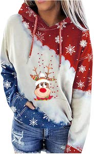 Women's Reindeer Red, White, And Blue Christmas Hoodie