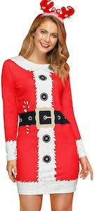 Women's Red And White Christmas Dress
