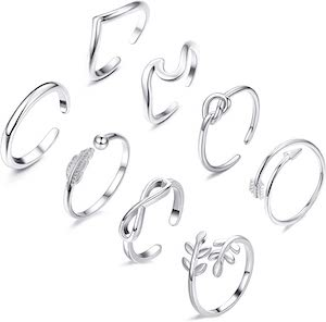 8 Piece Open Ring Set